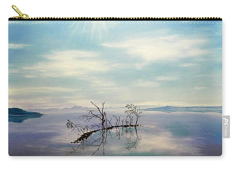 Late Novemeber In Bavaria Carry-all Pouch featuring the painting November on a bavarian lake by Helmut Rottler