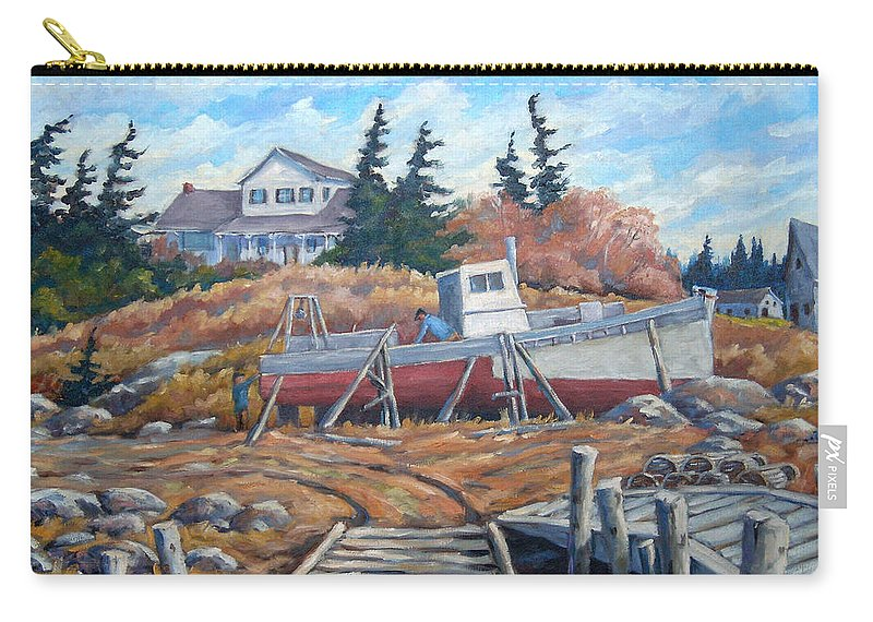 Boat Carry-all Pouch featuring the painting Novia Scotia by Richard T Pranke
