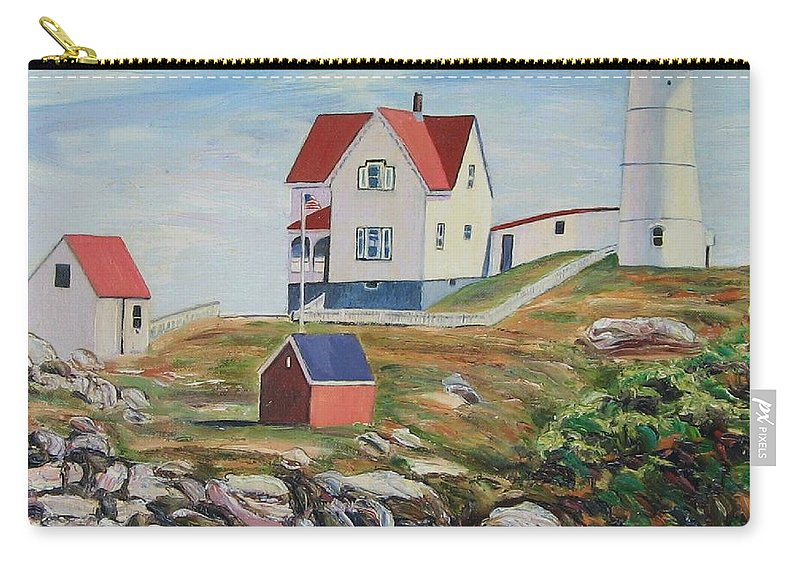 Nubble Light House Carry-all Pouch featuring the painting Nubble Light House Maine by Richard Nowak