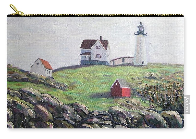 Maine Carry-all Pouch featuring the painting Nubble Light House by Richard Nowak