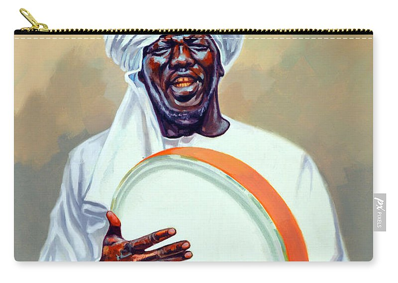 Impressionism Carry-all Pouch featuring the painting Nubian Musician Player Playing Duff by Ahmed Bayomi