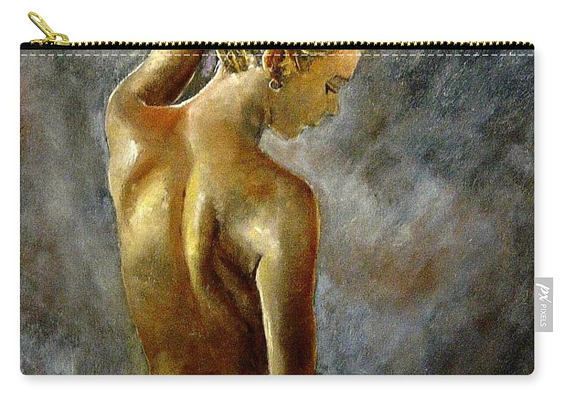 Girl Nude Carry-all Pouch featuring the painting Nude 27 by Pol Ledent