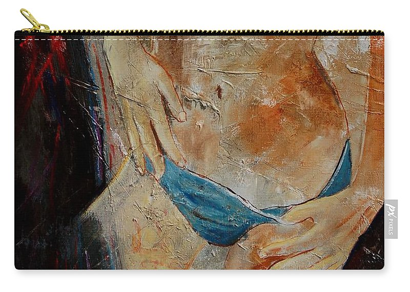 Girl Nude Carry-all Pouch featuring the painting Nude 450608 by Pol Ledent