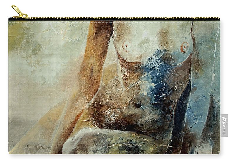 Nude Carry-all Pouch featuring the painting Nude 560408 by Pol Ledent