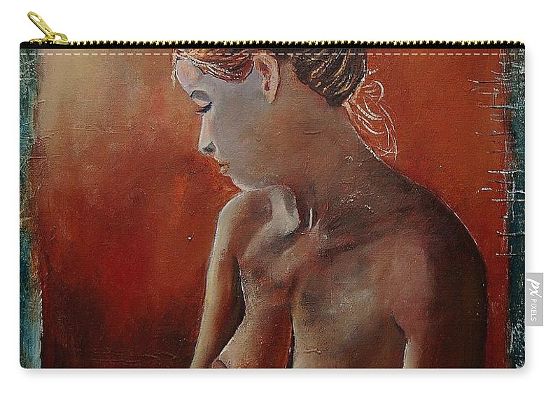 Girl Carry-all Pouch featuring the painting Nude 569022455 by Pol Ledent