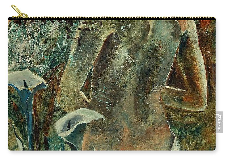 Girl Carry-all Pouch featuring the painting Nude And Arums by Pol Ledent