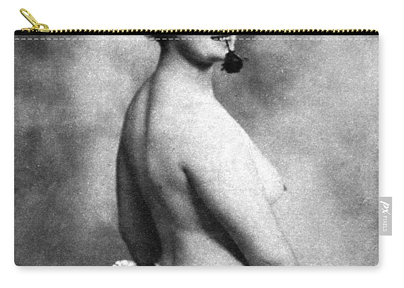 1903 Carry-all Pouch featuring the photograph Nude And Flowers, 1903 by Granger