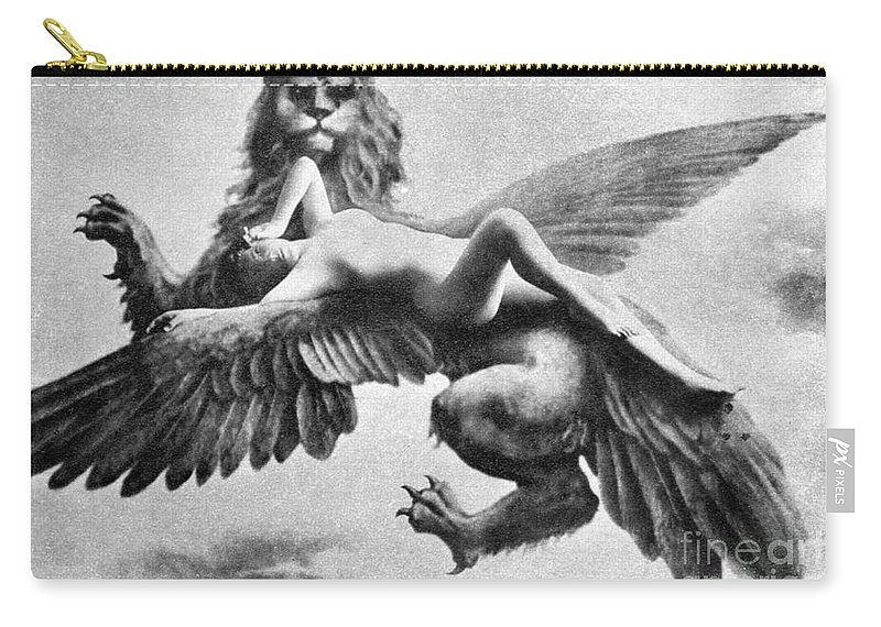 Carry-all Pouch featuring the painting Nude And Griffin, 1890s by Granger