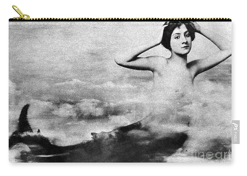 1890s Carry-all Pouch featuring the photograph Nude As Mermaid, 1890s by Granger