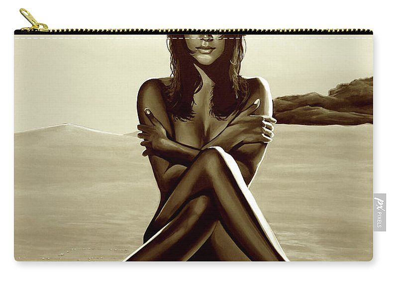 Nude Carry-all Pouch featuring the mixed media Nude Beach Beauty Sepia by Paul Meijering