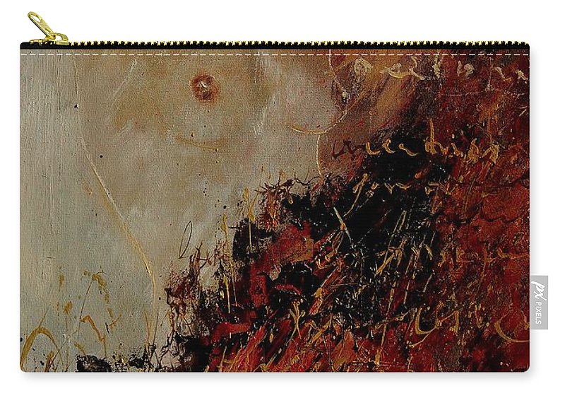 Girl Carry-all Pouch featuring the painting Nude Coming Out Of Abstraction by Pol Ledent