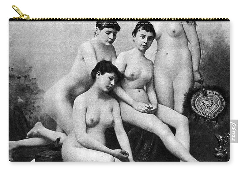 1889 Carry-all Pouch featuring the photograph Nude Group, 1889 by Granger