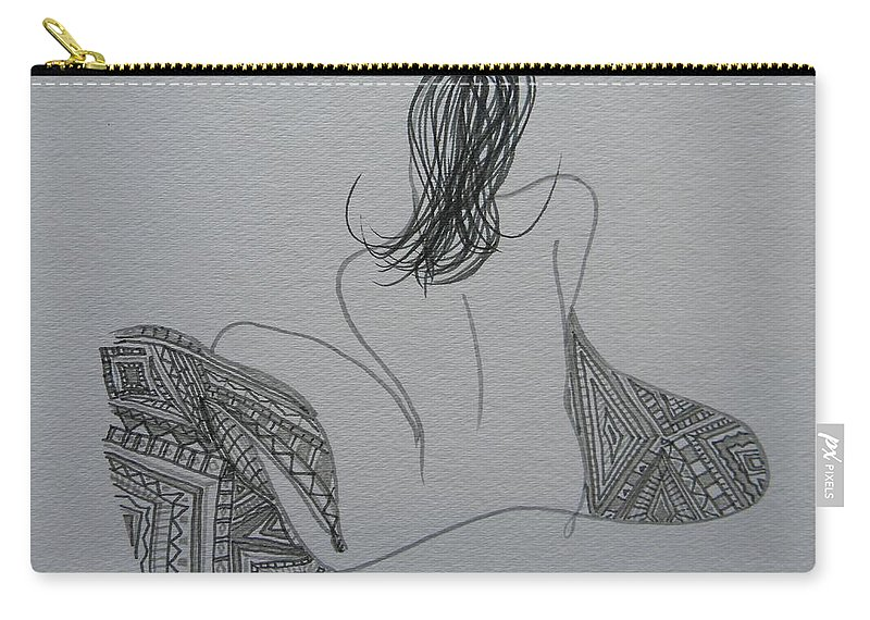 Marwan George Khoury Carry-all Pouch featuring the drawing Nude II by Marwan George Khoury
