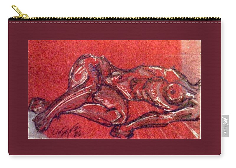 Nude Carry-all Pouch featuring the drawing Nude by John Linden