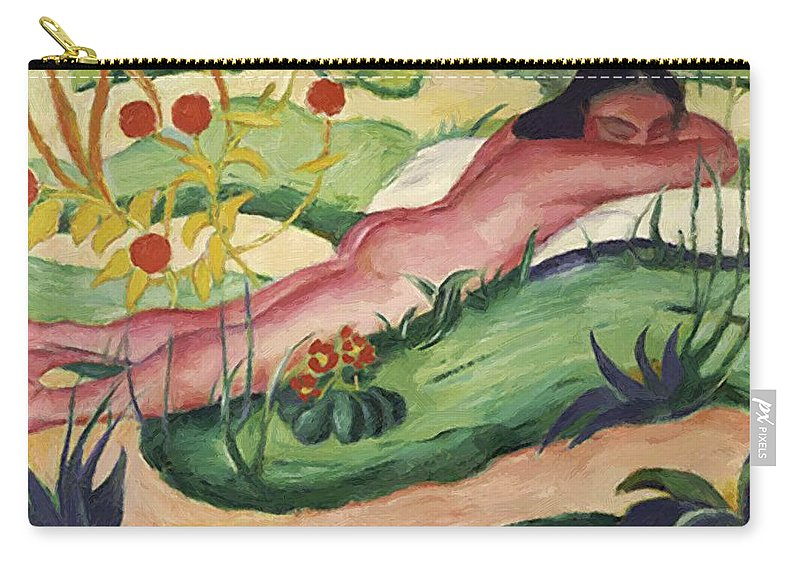 Nude Carry-all Pouch featuring the painting Nude Lying In The Flowers 1910 by Marc Franz