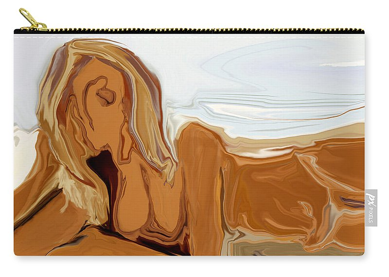 Abstract Carry-all Pouch featuring the digital art Nude On The Beach by Rabi Khan