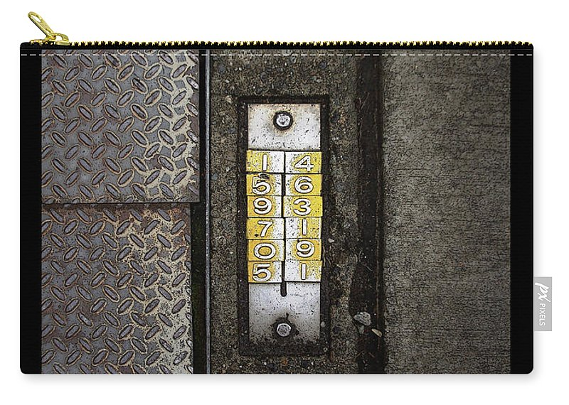 Numbers Carry-all Pouch featuring the photograph Numbers On The Sidewalk by Tim Nyberg