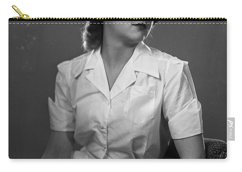 Rembrandt Lighting Carry-all Pouch featuring the photograph Nurse Rembrandt Lighting by Seely Studio