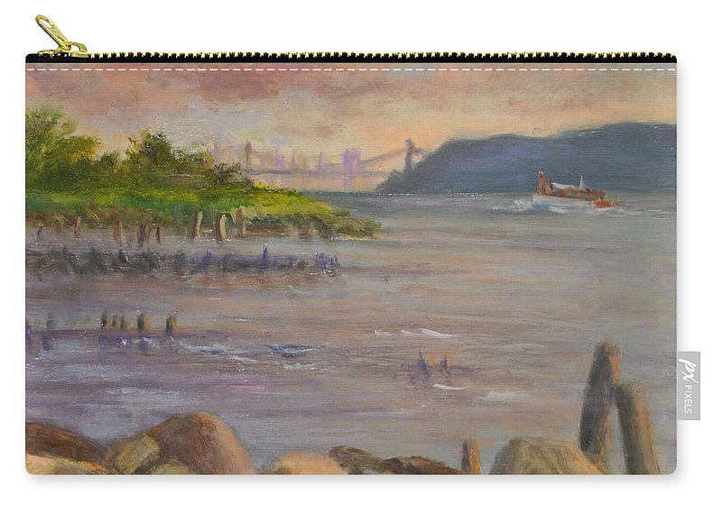 Landscape Carry-all Pouch featuring the painting Ny Skyline And Gwb From Hastings On Hudson by Phyllis Tarlow