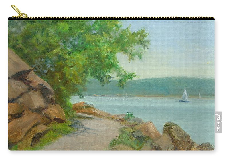 Oil Landscape Carry-all Pouch featuring the painting Nyack Trail Along The Hudson by Phyllis Tarlow