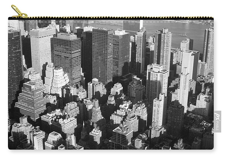 Nyc Carry-all Pouch featuring the photograph Nyc Bw by Anita Burgermeister