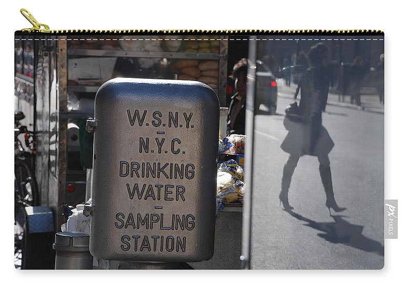 Street Scene Carry-all Pouch featuring the photograph Nyc Drinking Water by Rob Hans