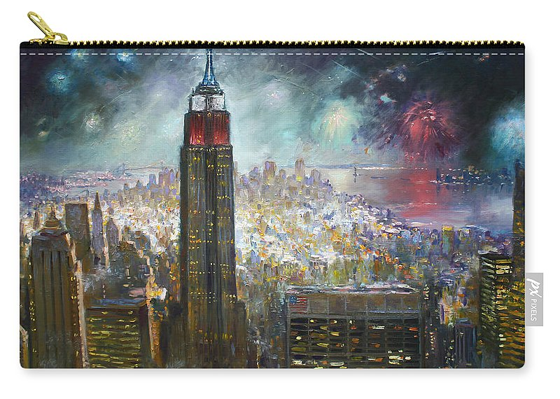 Landscape Carry-all Pouch featuring the painting Nyc. Empire State Building by Ylli Haruni
