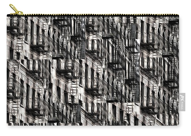 Building Carry-all Pouch featuring the photograph Nyc Fire Escapes by Edward Fielding