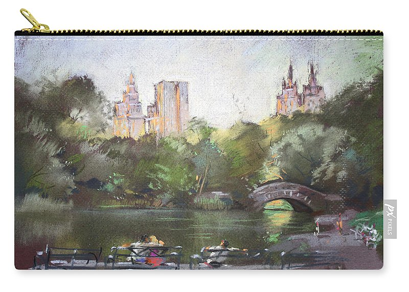Ny City Carry-all Pouch featuring the pastel Nyc Resting In Central Park by Ylli Haruni