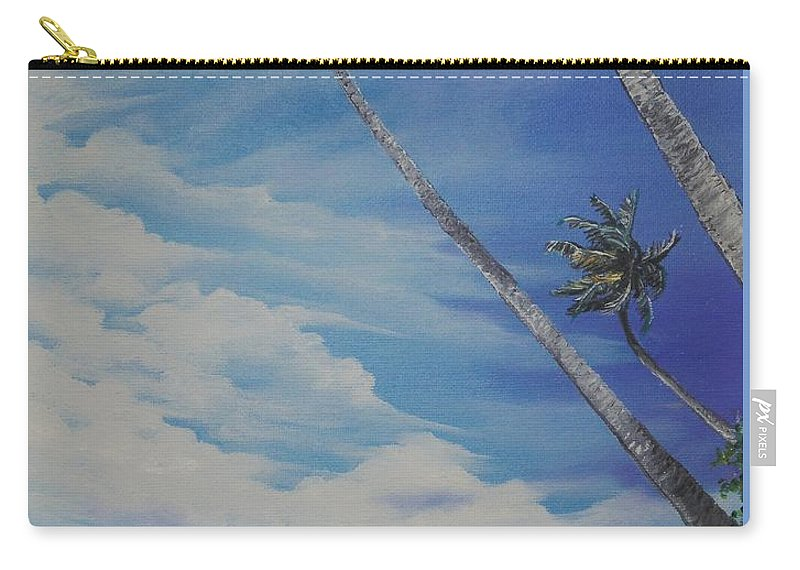 Ocean Painting Seascape Painting Beach Painting Palm Tree Painting Clouds Painting Tobago Painting Caribbean Painting Sea Beach T Obago Palm Trees Carry-all Pouch featuring the painting Nylon Pool Tobago. by Karin Dawn Kelshall- Best
