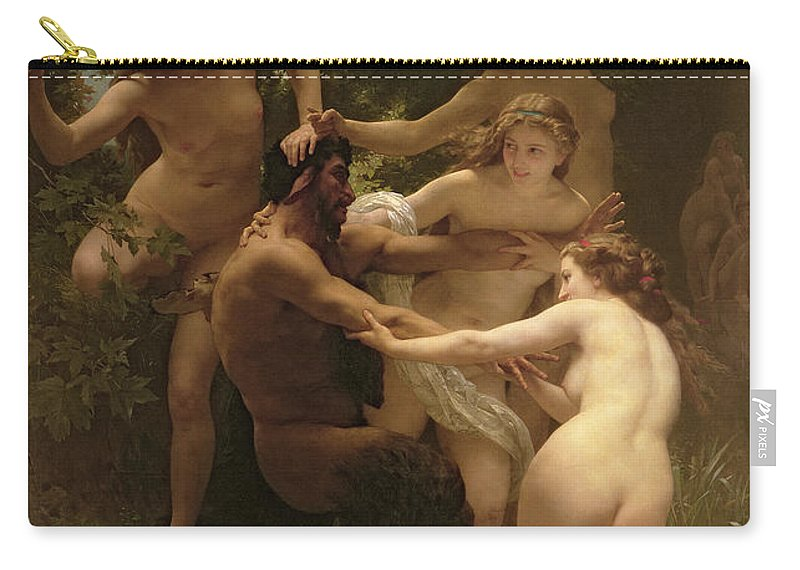 Nymphs And Satyr Carry-all Pouch featuring the painting Nymphs And Satyr by William Adolphe Bouguereau