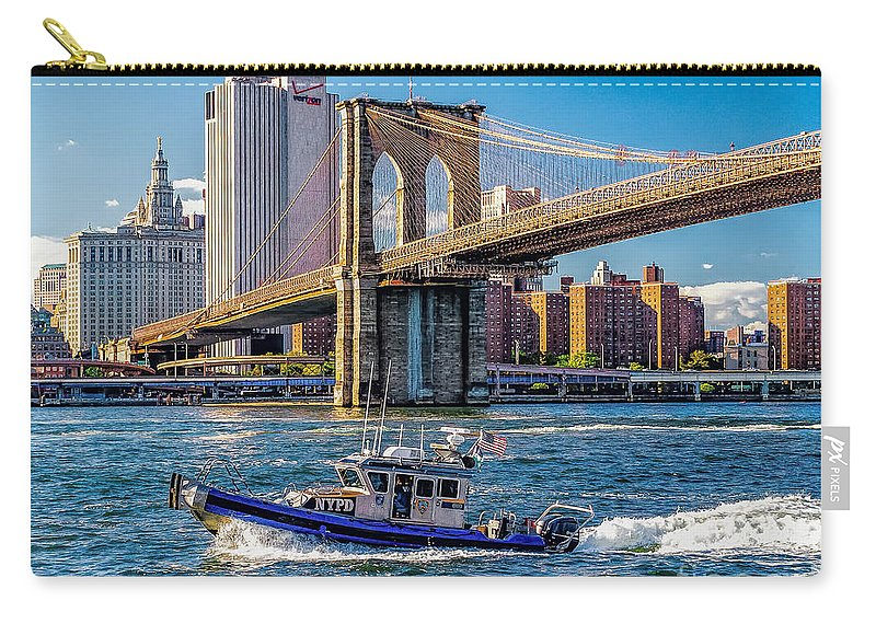 Nypd Carry-all Pouch featuring the photograph Nypd On East River by Nick Zelinsky