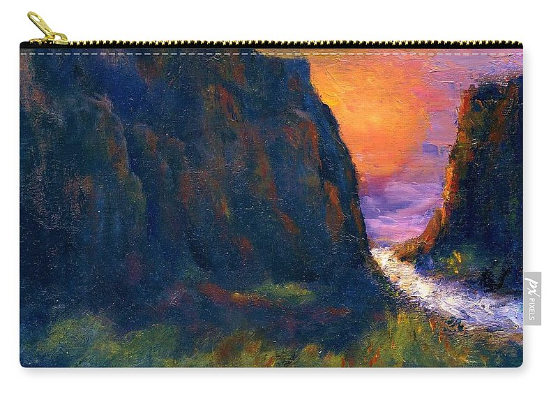 Impressionistic Carry-all Pouch featuring the painting Oak Creek Canyon by Gail Kirtz