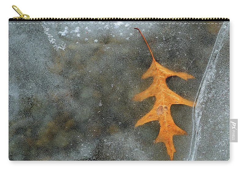 Abstract Carry-all Pouch featuring the photograph Oak Leaf In Ice by Lyle Crump