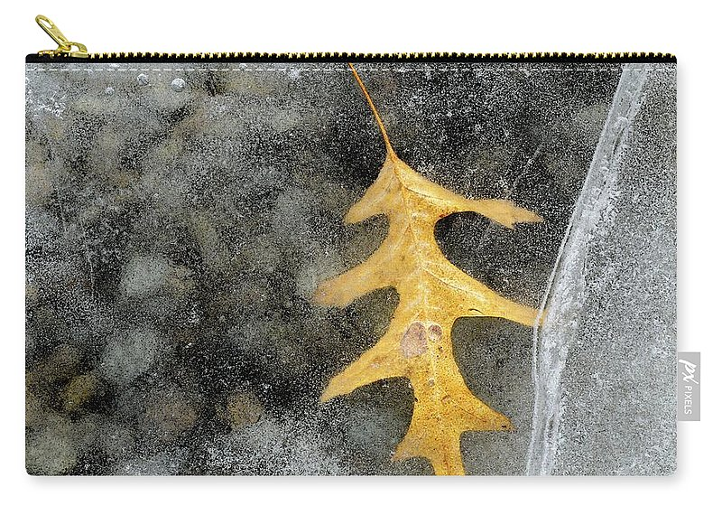 Abstract Carry-all Pouch featuring the digital art Oak Leaf In Ice Three by Lyle Crump