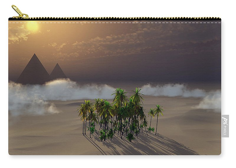 Deserts Carry-all Pouch featuring the digital art Oasis by Richard Rizzo