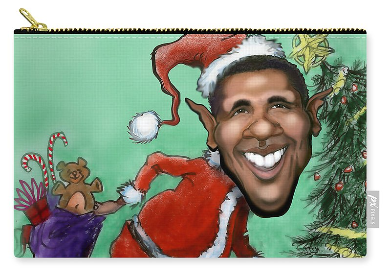Santa Carry-all Pouch featuring the digital art Obama Christmas by Kevin Middleton