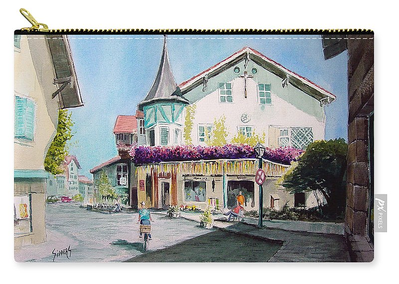German Carry-all Pouch featuring the painting Oberammergau Street by Sam Sidders