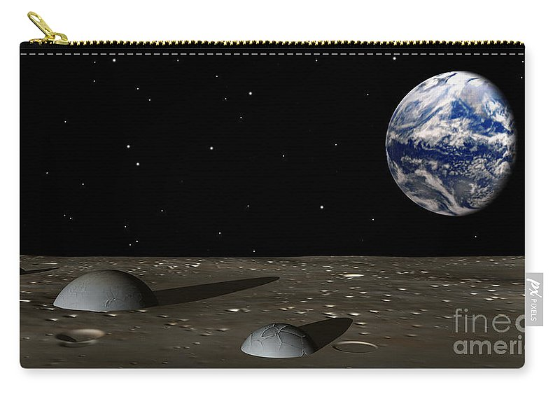 Moon Carry-all Pouch featuring the digital art Observing Mom by Richard Rizzo