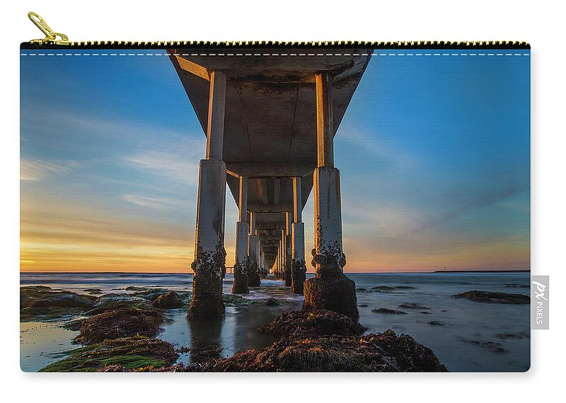 Low Tide Carry-all Pouch featuring the photograph Ocean Beach Pier by Larry Marshall