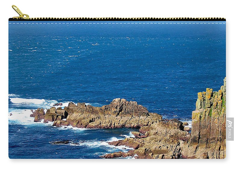 Aqua Carry-all Pouch featuring the photograph Ocean Cliffs by Svetlana Sewell