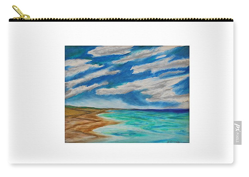 Ocean Beach Sand Tide Waves Sky Coastal Dunes Blue Green Morning Walk Pastel Carry-all Pouch featuring the painting Ocean Clouds by Daniel Dubinsky