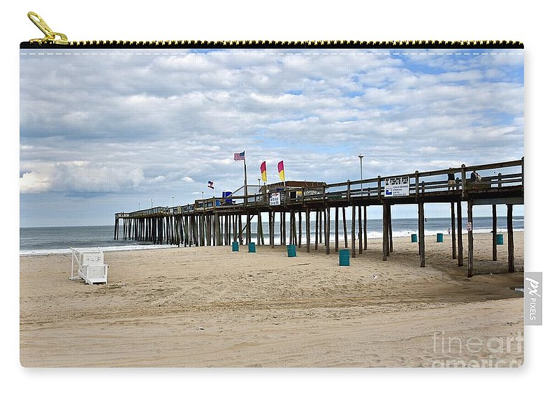 Beach Carry-all Pouch featuring the photograph Ocean Fishing Pier by Jeramey Lende