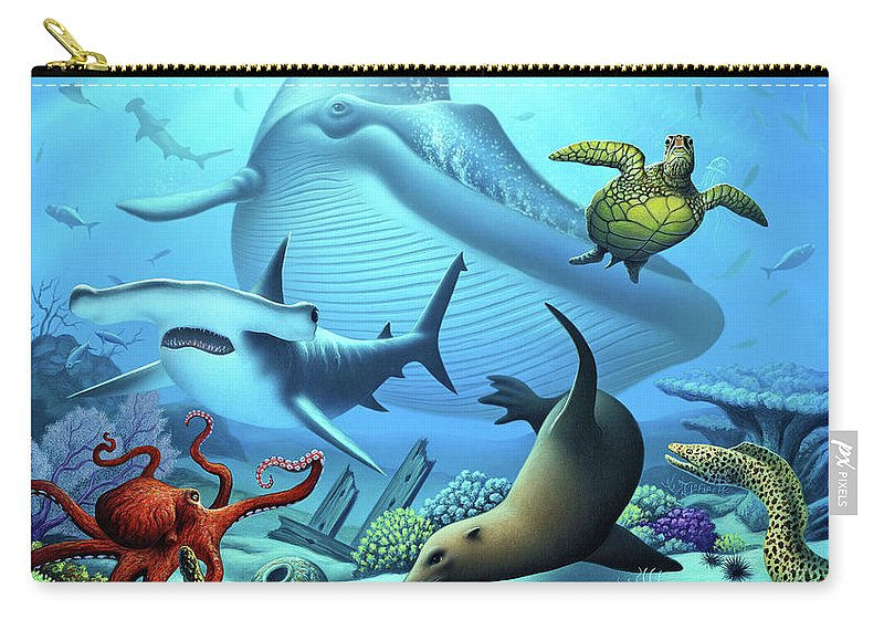 Blue Whale Carry-all Pouch featuring the digital art Ocean Life by Jerry LoFaro