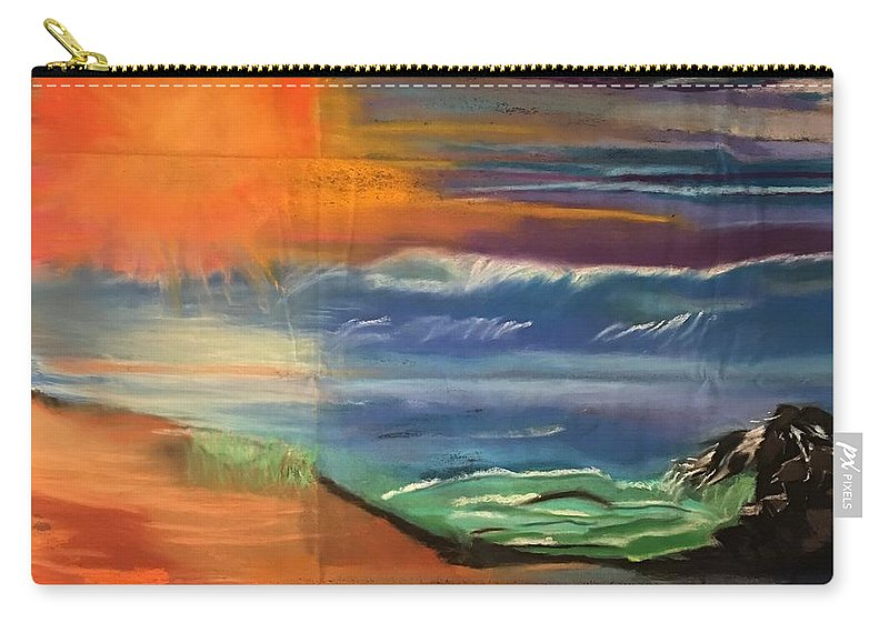 #colorfulpastel #smudgeart # Oceanview #verylargepastelart #naturalviews #nature #theocean #enchantingwater #beach #sunset #sunsetoverwater Carry-all Pouch featuring the pastel Ocean Magic by Tara Rocker
