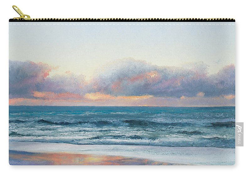 Seascape Paintings Carry-all Pouch featuring the painting Ocean Painting - Days End by Jan Matson