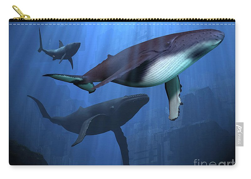 Whale Carry-all Pouch featuring the painting Ocean Ruins by Corey Ford