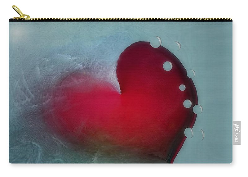 Hearts Carry-all Pouch featuring the digital art Oceans Heart by Linda Sannuti