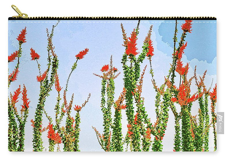 Ocotillo Carry-all Pouch featuring the mixed media Ocotillo Shower by Dominic Piperata