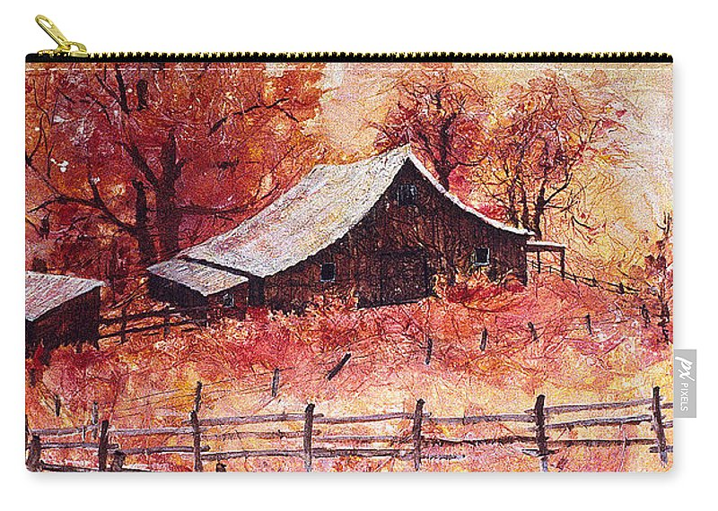 October Carry-all Pouch featuring the painting October Barn by Connie Williams